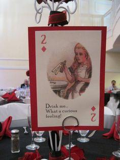 Alice in Wonderland playing cards :  wedding alice in wonderland black diy ivory reception red IMG 2448