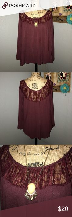 Burgundy Kimchi Blue top EUC, no marks, stains or snags. Lace across the top, swingy, lightweight and flowy. Adorable!  Laying flat, measurements are bust, 20 inches (will stretch to more), shoulder to hem 24 inches. Kimchi Blue Tops Blouses