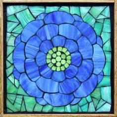 Student Work from a Kasia Mosaics Stained Glass Mosaic Flower Workshop - Hydrangea by Carla. Sign up for a class near you on the 2015 Kasia Mosaics US Tour via www.kasiamosaics.com