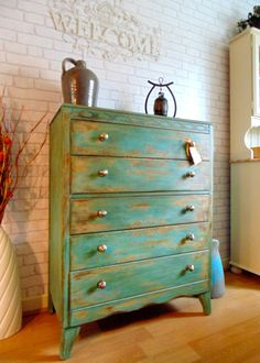 Gorgeous Shabby Chic 5 Drawer Chest of Drawers Hand Painted in Annie Sloan Arles then Provence. Clear & Dark Waxed & Faded Stencils Applied.