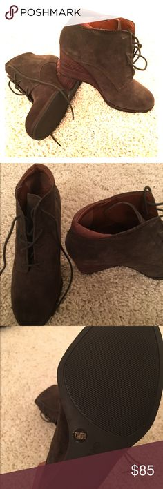 Lucky brand wedge booties Dark green suede wedges, never worn outside! Only tried them on. Lucky Brand Shoes Ankle Boots & Booties