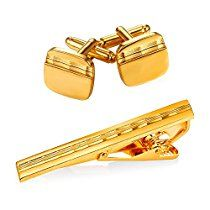 Men 18K Gold Plated Shirt Studs Square Wave Grain Cufflinks & Tie Bar Clip Set,3 Pcs