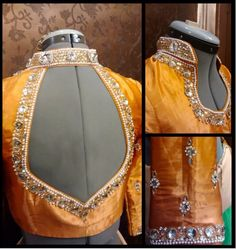 The most popular elbow length sleeves designer blouse for wedding sarees. Blouse Neck Patterns, Sari Blouse Designs, Choli Designs, Saree Jackets, Stylish Blouse Design, Blouse Models, Collor, Costume, Indian Designer Wear