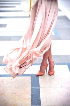 love the shoe color with that light pink of the skirt
