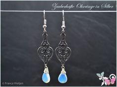 Mondstein - Art Deco Vintage Ohrhänger Mondstein lang Silber - ein Designerstück von Zauberhafte-Ohrringe-in-Silber bei DaWanda