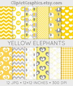 Gray and Yellow Elephant Digital Paper Yellow by ClipArtGraphics, $5.00