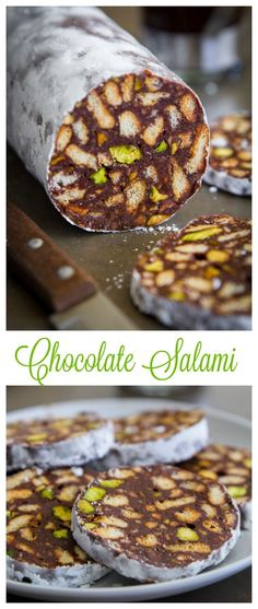 Smooth chocolate ganache, crunchy pistachios, and vanilla tea biscuits make the best chocolate salami.
