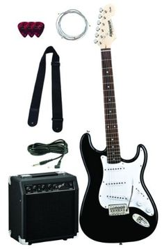 Super Cheap Fender Starcaster Strat Electric Guitar Bundle with Amplifier, Cable, Strap, Strings, and Picks – Black.