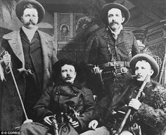 Brothers in crime: Jesse, front left, and Frank, front right, James pose with Cole and Bob Younger (rear left and right)At their peak they were the most feared gang of robbers in the Wild West