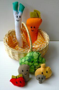 Panier de légumes du marché tissu vichy jaune de Nini qui coud sur DaWanda.com
