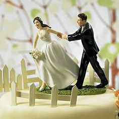 'Race To The Alter' Bride and Groom Cake Topper