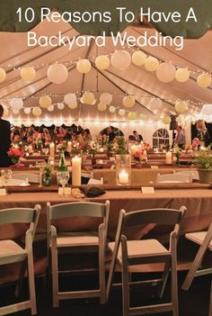 10 Reasons To Have A Backyard Wedding---exactly why I want my reception in my back yard. Elope, buy house, reception in back yard Marquee Wedding, Wedding Vows, Rustic Wedding, Wedding Reception, Dream Wedding, Wedding Day, Tent Reception, Wedding Stuff, Backyard Wedding Lighting
