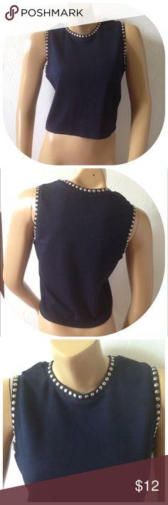 "Zara Size Large Cropped Embellished Tank Shirt Excellent condition; Armpit to armpit - 17.5"", Shoulder to bottom hem - 19""; Viscose, Polyester, Elastane; Dry clean Zara Tops Tank Tops"