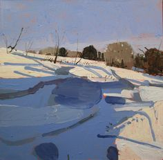 Bank Shadow Original Winter Landscape Painting on by Paintbox