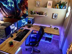 Gaming Pc Desk Setup, Computer Setup, Pc Setup, Office Setup, Best Gaming Setup, Computer Desks, Video Game Rooms, Game Room Design, Gamer Room