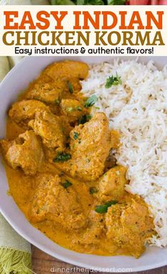 Chicken Korma is a traditional Indian dish that's light and flavorful almond c. Chicken Korma is a traditional Indian dish that's light and flavorful almond curry made with tomato paste, plenty of spices and cream thats buttery and completely delicious. Easy Indian Recipes, Asian Recipes, Mexican Food Recipes, Vegetarian Recipes, Cooking Recipes, South Indian Chicken Recipes, Fast Recipes, Oven Recipes, India Food