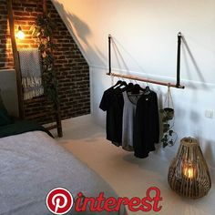 Clothes rack / Coat rack on leather straps # home accessories leather clothes rack . Clothes rack / coat rack on leather straps # home accessories leather clothes rack Attic Bedrooms, Home Bedroom, Room Interior Design, Bathroom Interior, My New Room, My Room, Room Inspiration, Interior Inspiration, Paris Rooms