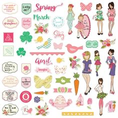 Capture everything awesome about spring with the March and April Ephemera designed by Julie Nutting for Prima. Included in the package are 108 die cut cardstock Scrapbook Stickers, Scrapbook Paper, Scrapbooking Ideas, Prima Doll Stamps, Paper Puppets, Printable Planner Stickers, Printables, Free Printable, Birthday Cards For Women