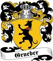 Grueber Coat of Arms - Visit our website at www.4crests.com for lots of great products featuring this family coat of arms.  We carry glassware, rings, plaques, flags, prints, jewelry and hundreds of other Crest products. #coatofarms #familycrest #familycrests #coatsofarms #heraldry #family #crest #genealogy #familyreunion #names #history #medieval #german #familyshield #shield #crest #clan #badge #tattoo #jewelry #crafts #scrapbooking #scrapbook #gift #germany