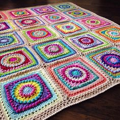 Textured Circles No. 25 - Random brights with a simple DC + Reverse SC border - Circle of Friends square with some minimal adjustments - Definitely a customer favorite! ❤️❤️ #etsy #crochet