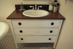 One of the more popular posts here at AOC has been How To Turn a Dresser Into a Vanity.    I had always wanted to take an old dresser and convert it into a vanity and we were finally able to a few years ago as part of our master bathroom remodel.