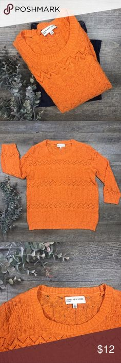Perfect Fall Sweater Fun orange Jones New York Sport crochet sweater! In great condition! 60% cotton, 40% acrylic. Size XL Perfect for Fall Game Days! Goes great with jeans or even at the office. Jones New York Sweaters