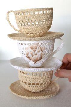 socialdesiboyz:  CREAM Crochet Tea Cup Sculpture Art Handmade Gifts by creativecarmelina