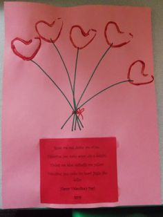 Valentine's day Preschool Craft! Draw the stems on with a marker and stamp the hearts using a bent toilet paper tube (for fun, mix jello powder in the paint!). Glue the poem on the bottom. It reads: Roses are red, daisies are white, Valentine, you make every day a delight! Violets are blue, daffodils are yellow, Valentine, you make my heart jiggle like Jello!