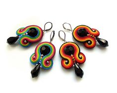 Soutache earrings  COLORFUL sparkling fasionable by rododendron7, $22.50