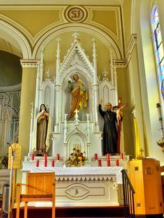 Saint Mary Catholic Church (Philothea Ohio) interior altar of Saint Joseph with Saints Therese of Lisieux and Gaspar del Bufalo
