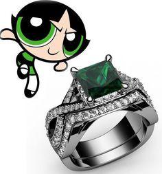 925 Sterling silver CZ Emerald princess Cartoon inspired Ring Wedding Set