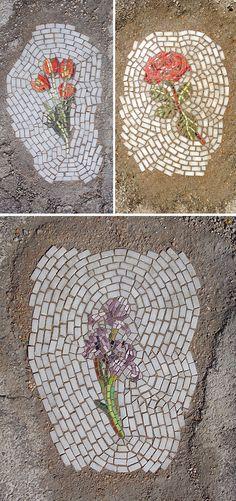 jim bachor - glass & marble mosaics... in potholes! #flowers