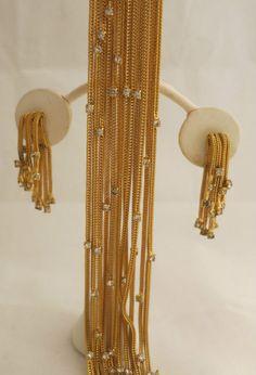 Vintage Castlecliff Goldtone Chain & Crystal Rhinestone Bracelet & Earrings Set $OLD