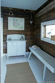Sauna House, Sauna Room, Little Log Cabin, White Cabin, Cabin Interiors, Scandinavian Home, Retro Home, Cottage Homes, House In The Woods