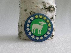 Soviet little lamb button. Vintage pinback badge accessory- made in Russian USSR era 1970's. 4.90, via Etsy.