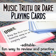 Music Truth or Dare Playing Cards. Organized Chaos. These are perfect for reviewing and practicing music skills and concepts in a fun way! Would work as a full class or center activity. Comes with a variety of concepts and skills to cover different grade levels, plus blank versions you can write or type on to make your own.