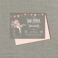 Printable Baby Shower Invitation Card  Mason Jar Flower Design   Ball Jar Floral   Customize   DIY - No. BWW1-1