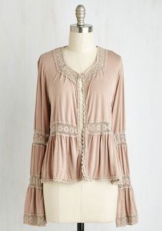 Estate Sale Escapade Cardigan - Blush, Tan / Cream, Solid, Lace, Boho, Fairytale, French / Victorian, Long Sleeve, Fall, Knit, Lace, Better, V Neck