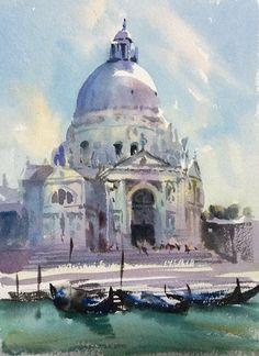 Trevor Waugh  Quick watercolour sketch for larger painting of Santa Maria della Salute , Venice