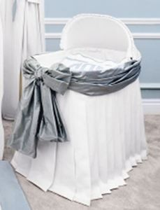 Sterling Anabella Custom Designed Bassinet Covers.   Bassinet Covers are designed in two luxurious styles. #Bassinet #Nursery #waughinteriordesigns