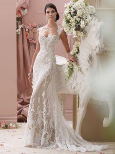 Deep Queen Anne Neckline Keyhole Back Slim A-line Wedding Dress