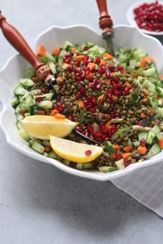 Garlicky Mung Beans-Dill-Pomegranate Spicy Warm Salad @foodfashionparty
