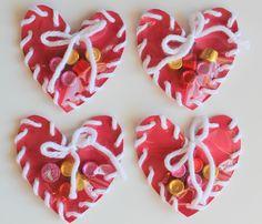Hand Sewn Paper Heart Valentine Craft for Kids