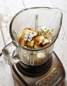 Parsnips, garlic, blue cheese soup