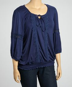 This Navy Crochet Embroidered Peasant Three-Quarter Top - Plus by Simply Irresistible is perfect! #zulilyfinds