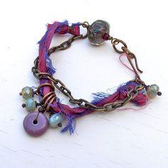Sari silk bracelet, handmade bracelet, ribbon bracelet, upcycled jewellery, purple bracelet, plum bracelet, sari silk jewellery
