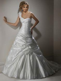 A-Line Taffeta Sweetheart Wedding Dress with One Shoulder