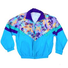 Crazy 80s Abstract Surf Windbreaker L by NeonStockyards on Etsy ($60) ❤ liked on Polyvore featuring jackets, tops, shirts and outerwear