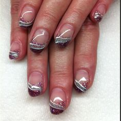 All gel nails with hand drawn design By Melissa Fox