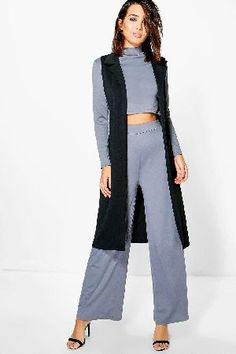 #boohoo 3PC Roll Neck Trouser Duster Co-Ord - slate #Cheska 3PC Roll Neck Trouser Duster Co-Ord - slate